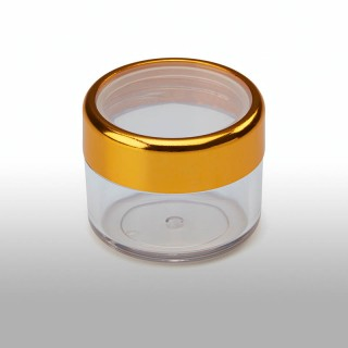 C-418: 0.6 oz Clear Jar w/Gold Trimmed Top